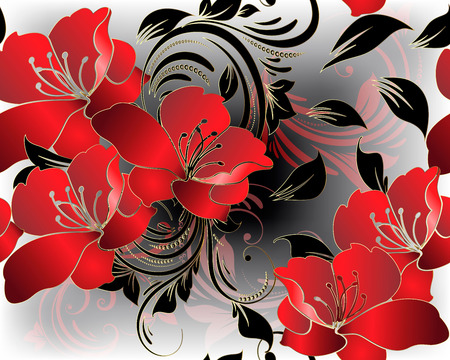 Modern floral 3d red flowers vector seamless pattern. Beautiful glowing floral background. Vintage line art tracery ornaments with red orchid lily flowers, leaves, swirls, dots. For cards, wallpapers