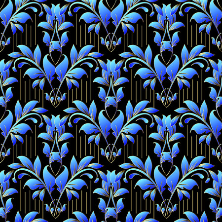 Damask floral vector 3d seamless pattern. Ornamental elegance striped background. Blue leafy ornaments. Vintage ornate flowers, branches, leaves. Line art tracery hand drawn design. Surface texture
