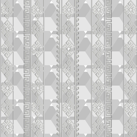 Light gray geometric greek vector seamless pattern. Monochrome abstract striped background. Vertical stripes, lines, cubes, waves, greek key, meanders ornament. Creative modern decorative design. Illustration