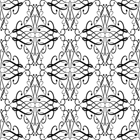 Vintage black and white floral vector seamless pattern. Hand drawn doodle  line art tracery swirls ornament. Damask ornamental background. Decorative isolated design for fabric, printing, textile.