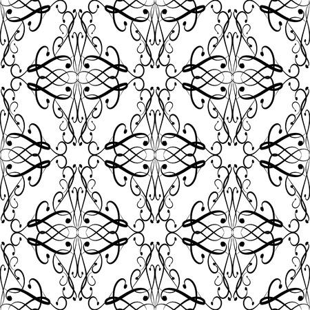 Patrón transparente de vector floral blanco y negro vintage. Dibujado a mano doodle línea arte tracería remolinos ornamento. Fondo ornamental de Damasco. Diseño aislado decorativo para tela, estampado, textil.