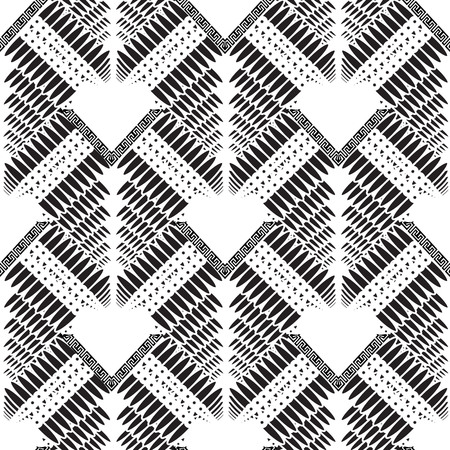 Abstract ornamental geometric vector seamless pattern. Ornamental tribal ethnic style greek background. Geometry shapes, triangles, zigzag, dots, half tone. Monochrome patterned tiled ornaments.