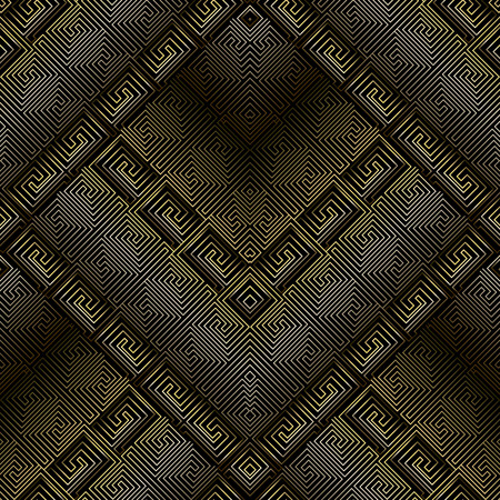 Dark 3d greek key meanders seamless pattern. Vector black and gold abstract gepmetric grid background. Line art tracery outline shapes, lines, stripes, labyrinths. Tiled rhombus with greek borders