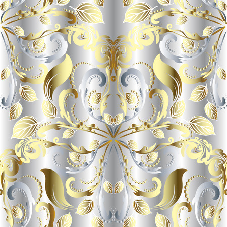 White vintage floral 3d vector seamless pattern. Silver textured ornamental background. Gold floral antique Damask ornament. Elegance 3d flowers, leaves, swirls, lines, dots. Endless ornate texture.