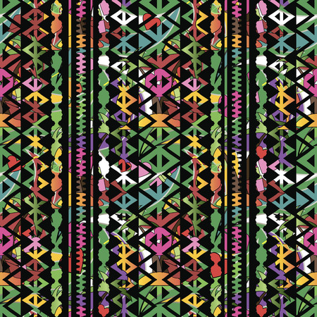 Colorful bright geometric vector seamless pattern. Ethnic style tribal striped background. Motley decorative abstract ornament with stripes, lines, zigzag, triangles, shapes, borders. Endless texture