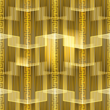 Striped glowing gold meanders greek vector seamless pattern. Creative modern ornamental geometric background. Trendy abstract design. Geometry ornament with stripes, shapes, lines, greek key borders