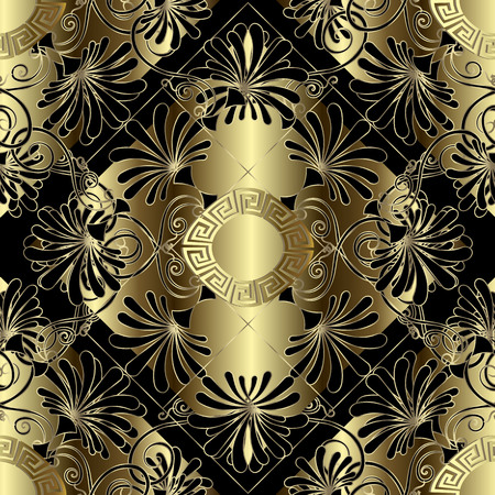 Floral gold and black 3d greek vector seamless pattern. Vintage ornamental geometric background. Damask style golden flowers,. Ancient greek key meander mandala and ornament. Modern decorative design.