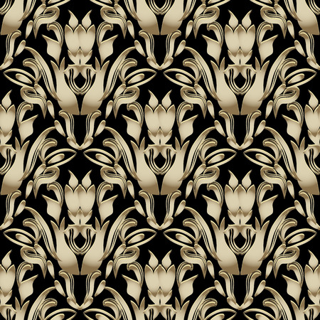 Vintage floral Baroque 3d vector seamless pattern. Ornamental abstract flourish  background. Hand drawn elegance golden flowers, leaves. Line art tracery Damask ornaments. Ornate design Vectores