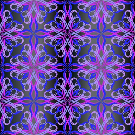 Modelo inconsútil del vector barroco del damasco púrpura del vintage. Fondo abstracto ornamental floral. Flores de estilo antiguo brillante elegancia, hojas. Elegante adorno de azulejos. Textura adornada sin fin decorativa