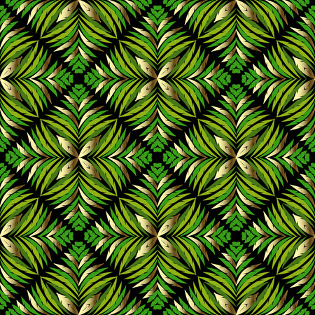 Abstract Ferns leaves vector seamless pattern. Foliage gteen leaves ornamental background. Modern design in Baroque damask style. Decorative surface texture. Elegance ornate design. Floral ornament. Vectores