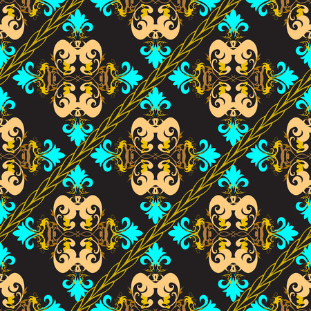 Baroque ornate seamless pattern. Vector ornamental Damask background. Vintage floral ornament with diagonal braided stripes, shapes. Antique baroque style colorful flowers, leaves, swirls, scrolls