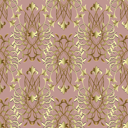 Elegance gold Damask vector seamless pattern. Baroque victorian style antique ornament. Floral line art tracery vintage design with surface lily lotus flowers, leaves, swirls. Ornate endless texture