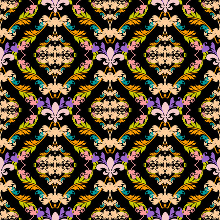 Damask colorful vector seamless pattern. Baroque ornaments. Antique victorian style ornamental floral background. Endless texture. Luxury ornate design for wallpapers, fabric, textile, printing.
