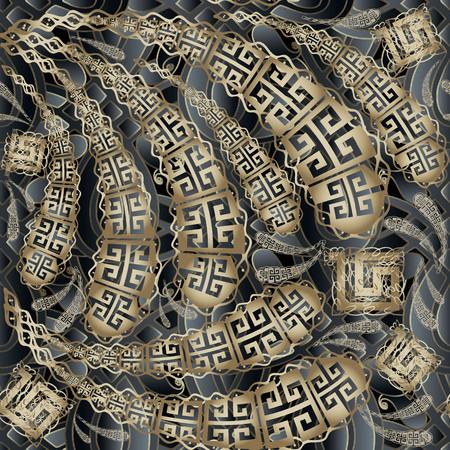 Greek key meanders floral 3d seamless pattern. Vector ornamental modern Paisleys background. Hand drawn vintage paisley flowers, doodle lines, meander ornaments. Ornate decorative textured design.