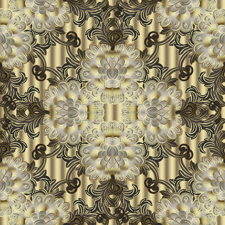 Floral vector seamless pattern. Flourish ornamental vintage 3d background. Elegance flowers, leaves, Baroque Victorian style ornaments. Ornate decorative beautiful design. Endless flowery texture Vectores