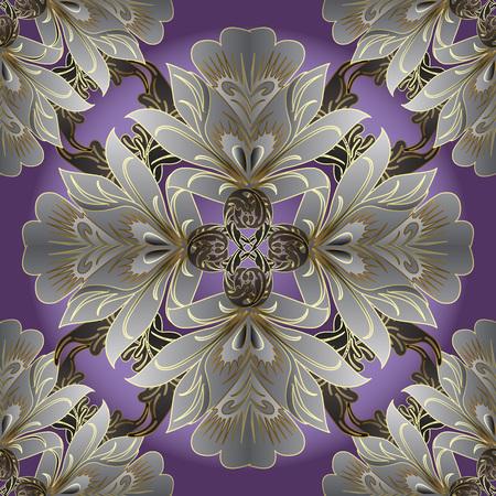 Damask floral vector seamless pattern. Flourish ornamental vintage background. Elegance flowers, scroll  leaves, Baroque Victorian style ornaments. Ornate decorative beautiful design. Endless texture 版權商用圖片 - 109855235