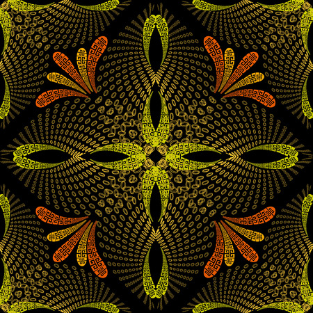 Meanders greek 3d vector seamless pattern. Floral greek key ornamental background. Abstract repeat Paisley flowers ornament. Geometric fractal shapes. Modern surface texture. Vintage ornate design