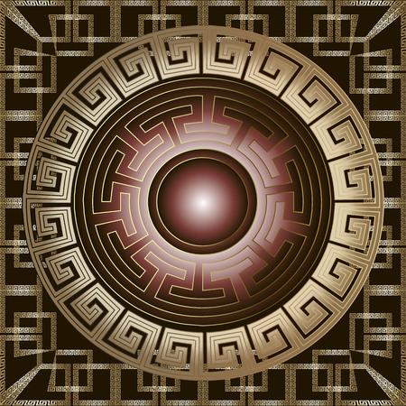 Ancient greek 3d mandala seamless pattern. Vector gold meander ornament. Geometric ornamental background. Modern round mandala with greek key meanders frame. Geometrical shapes. Surface ornate texture