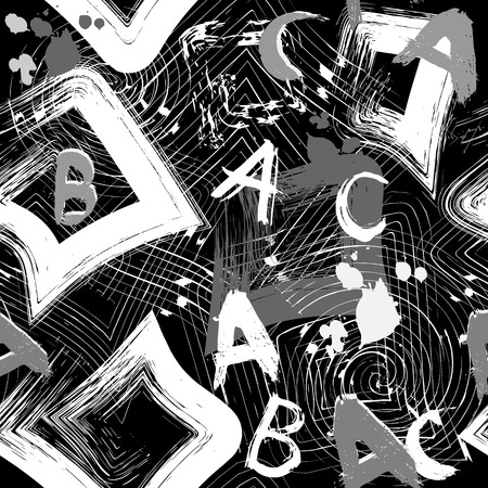 Urban geometric vector black and white abstract seamless pattern. Abc wallpaper. Grunge patterned dirty background. Monochrome textured repeating modern design. Grungy letters, spots, meanders Ilustrace
