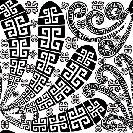 Floral black and white isolated greek seamless pattern. Abstract greek key, meander style paisley flowers, swirls. Geometric modern monochrome background. Template. Decorative hand drawn ornament.