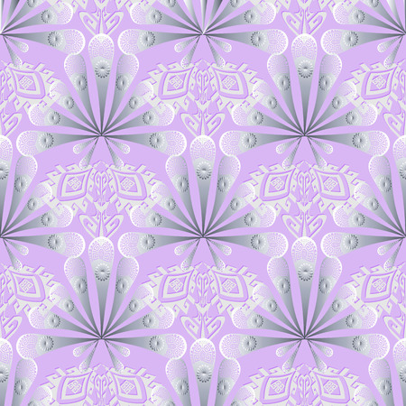 Elegance lace 3d greek floral vector seamless pattern. Ornamental light violet patterned background. Ethnic tribal style repeat geometric backdrop. Ancient greek key meanders ornament. Surface flowers
