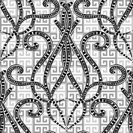 Greek vector black and white geometric seamless pattern. Abstract floral Damask background. Repeat geometry checkered backdrop. Vintage hand drawn line art tracery greek key meanders flowers, swirls