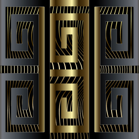 Abstract luxury 3d greek key meander border seamless pattern. Vector ornamental geometric waves background. Wavy lines repeat elegance backdrop. Geometric ornament. Ornate design. Surface texture.