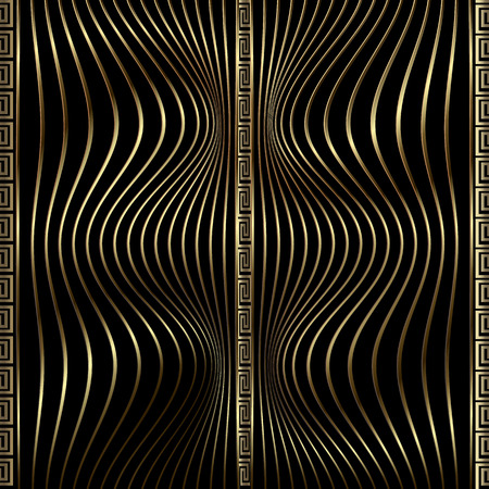 Modern 3d waves greek vector seamless pattern. Gold and black textured ornamental wavy lines background. Geometric surface repeat backdrop. Ornate elegance borders design. Greek key meanders ornament. Illustration