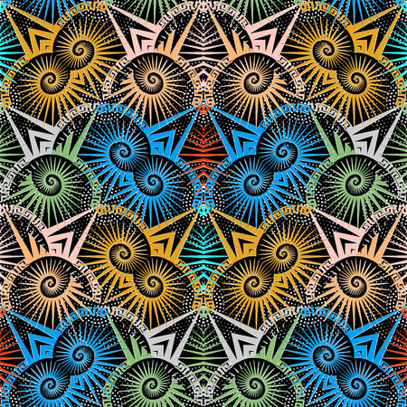 Modern colorful geometric greek vector seamless pattern. Bright ornamental halftone background. Radial shapes, spirals, stripes, dots, zigzag. Tribal ethnic style geometry greek key meanders ornament. Illustration
