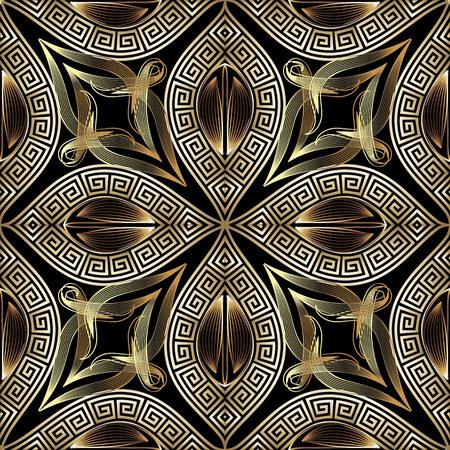 Griechische Vintage gold 3d floral vector nahtloses Muster. Dekorativer verzierter Hintergrund. Wiederholen Sie gemusterte moderne Kulisse. Eleganz griechischer Schlüssel mäandert Ornament. Goldene Linie Kunstblumen, Blätter, Rahmen