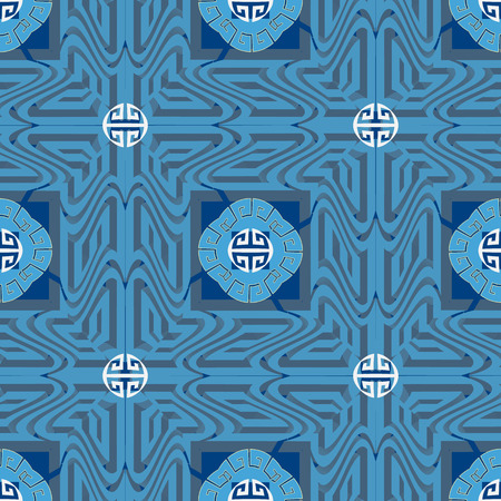 Blue ornamental greek vector seamless pattern. Ornate geometric squares background. Repeat patterned abstract mandalas backdrop. Vintage greek key meanders ornament. Modern surface decorative design