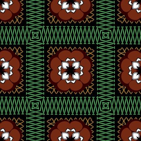 Zigzag checkered colorful vector seamless pattern. Ethnic style ornamental floral background. Repeat striped check backdrop. Love hearts decor. Zig zag tribal ornament. Decorative geometric texture.