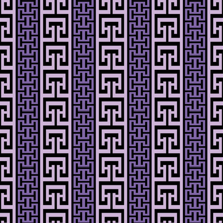 Striped ornate greek vector seamless border pattern. Abstract modern geometric background. Vertical greek key meanders borders, stripes, ornament. Repeat ornamental trendy backdrop. Elegant design