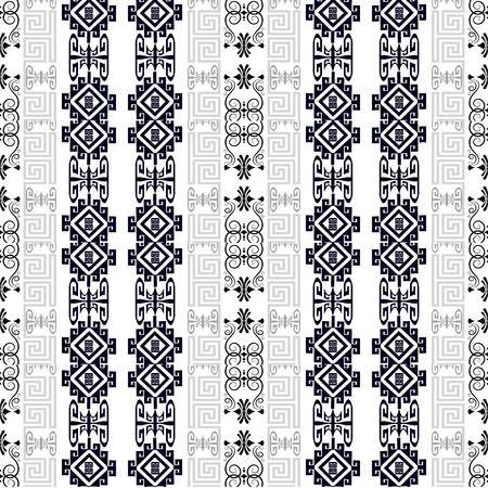 Greek floral black and white vector seamless borders pattern. Ornamental vintage background. Abstract repeat geometric ethnic style backdrop. Decorative monochrome greek key meanders vertical ornament Vektorové ilustrace