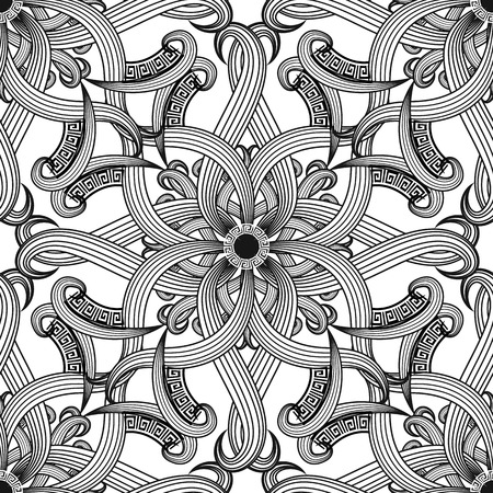 Greek floral intricate meanders seamless pattern. Vector abstract black and white background. Line art tracery hand drawn flowers, striped leaves, mandala. Greek key meanders Damask ornament Иллюстрация