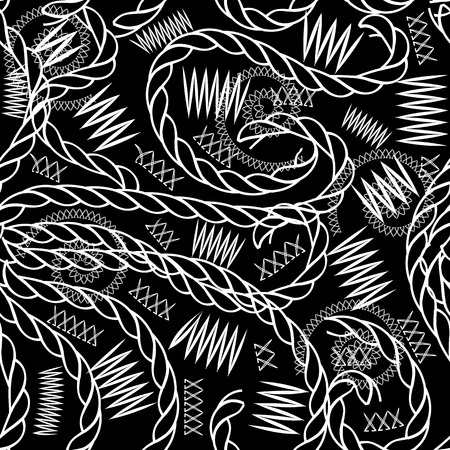Braided ropes and zigzag stitching vector seamless pattern. Black and white ornamental abstract background. Repeat decorative hand drawn patterned backdrop. Doodle lace spirals, curved ropes, zig zag