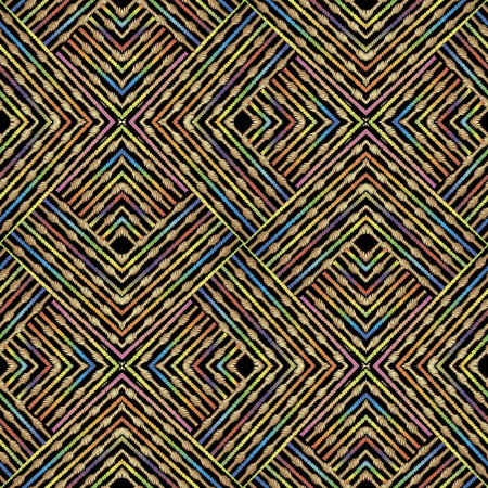 Textured striped zigzag grunge vector seamless pattern. Ornamental geometric embroidery background. Tapestry zig zag abstract ornament with stripes, lines. shapes. Embroidered design. Endless texture