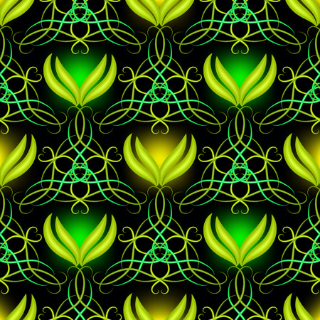 Modern abstract green illuminated arabesque seamless pattern. Vector ornamental glowing Damask background. Decorative repeat ornate backdrop. Floral hand drawn line art tracery tiled 3d ornament.
