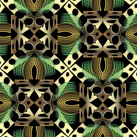 Modern geometric gold green vector greek seamless pattern. Ornamental creative abstract background. Repeat patterned backdrop. Geometrical shapes, holes, lines. Greek key meanders ancient ornament Vettoriali