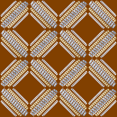 Grunge embroidery textured stitch 3d seamless pattern. Geometric ornamental stitching background. Tapestry repeat backdrop. Embroidered stitches, lines, rhombus, geometrical shapes. Ethnic ornament