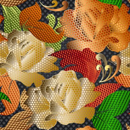 Patrón transparente de vector de rosas con textura de encaje de oro 3d. Fondo de superficie ornamental floral vintage. Repetición ornamentada como telón de fondo con dibujos. Flores de rosas de flor de oro, hojas. Textura moderna. Diseño rico Ilustración de vector