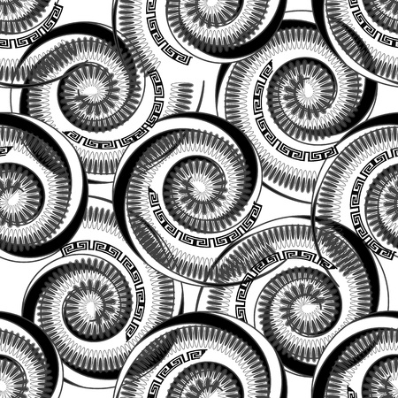 Black and white geometric striped spiral shapes vector seamless patttern. Greek style ornamental monochrome background. Isolated design. Repeat abstract floral backdrop. Greek key meanders ornament