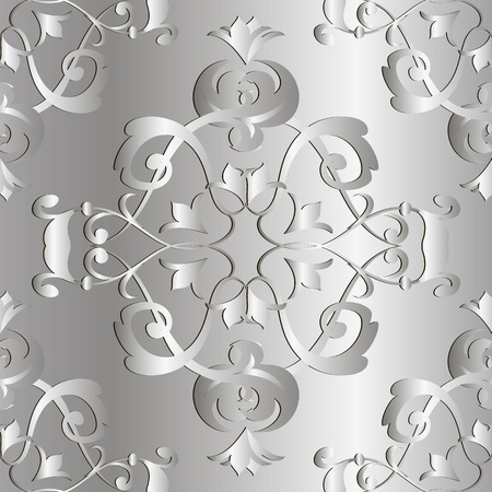 Baroque 3d seamless pattern. Vector ornamental silver background. Repeat patterned floral shiny backdrop. Hand drawn vintage baroque ornament in Victorian antique style.  Luxury ornate modern design