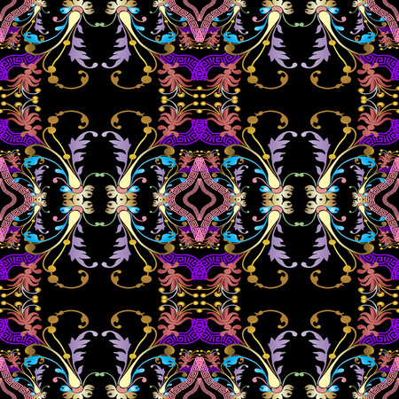 Baroque seamless pattern. Black vector damask background wallpaper with vintage colorful flowers, scroll leaves. Geometric meanders, greek key ornament. Ornate beautiful texture. Luxury floral design