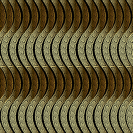 Waves seamless pattern. Greek vector ornamental 3d background. Ornate repeat wave lines backdrop. Wavy shapes. Greek key meander ancient ornament. Surface texture. Luxury design for wallpapers, fabric