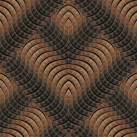 Waves seamless pattern. Greek vector ornamental geometric 3d background. Ornate repeat wave lines dark backdrop. Tiled wavy shapes. Greek key meander ancient ornament. 3d wallpaper. Surface texture. Vector Illustration