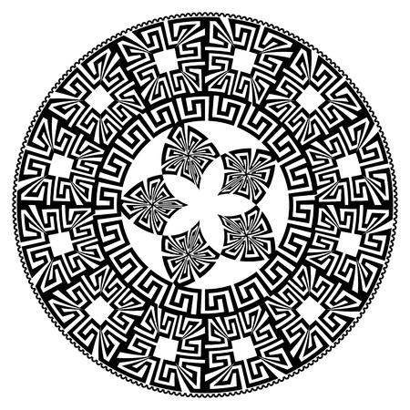 Vector round mandala vector pattern. Black greek key meanders geometric ornament on white background. Decorative floral mandala design. Geometrical shapes, lines, flowers, circles, borders, frames
