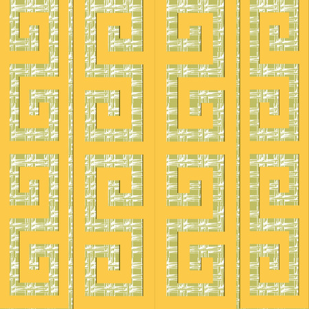 Ornamental vector greek vector seamless pattern. Ethnic style patterned grunge grid lattice background. Repeat decorative  backdrop in yellow green colors. Abstract ancient greek key meanders ornament