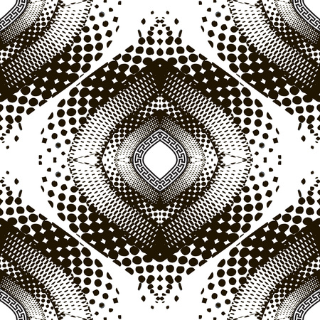 Halftone black and white modern vector seamless pattern. Greek ornamental half tone background. Greek key meanders ancient ornament. Trendy creative geometric design with dots, curves, lines, shapes. Vettoriali