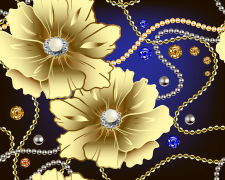 Jewellery floral 3d vector seamless pattern. Gold flowers with white surface pearls. Jewelry ornamental background. Vintage ornament with gold chains, beads, necklace, gemstones, brilliants, sapphires